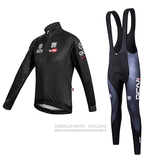2016 Abbigliamento Ciclismo Global Cycling Network Nero Manica Lunga e Salopette